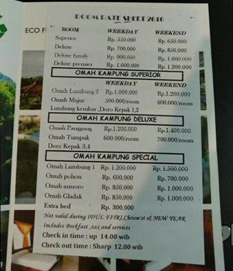 Room Rate Kampung Lumbung