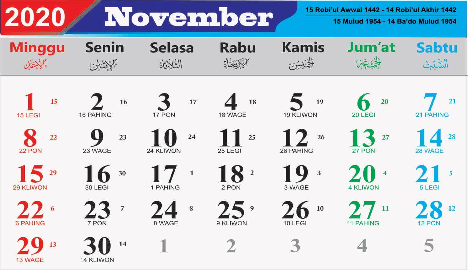 Hari Besar Nasional November 2020